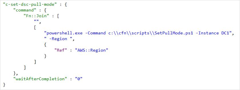Ejecución del script de configuración SetPullMode.ps1 mediante AWS CloudFormation