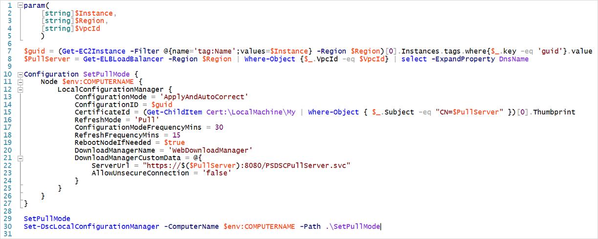 Script de configuración del cliente de DSC