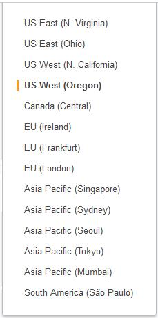 Selección de una región de AWS