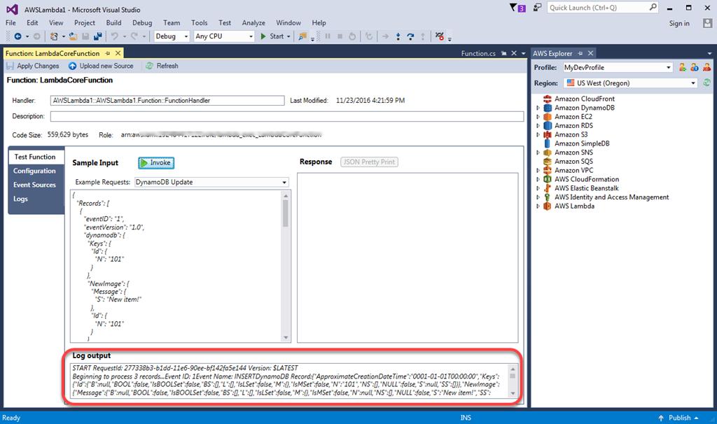 Tutorial uso de un proyecto de aws lambda en aws toolkit for visual registro de salida de la prueba de la funcin malvernweather Gallery