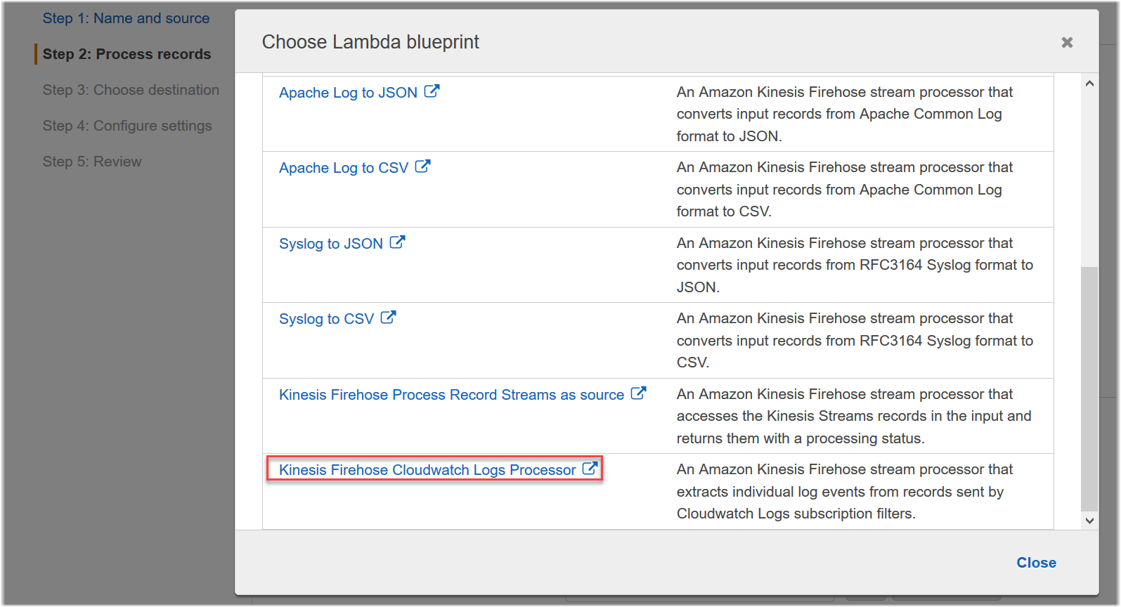 Step 2: Create a Kinesis Data Firehose Delivery Stream with