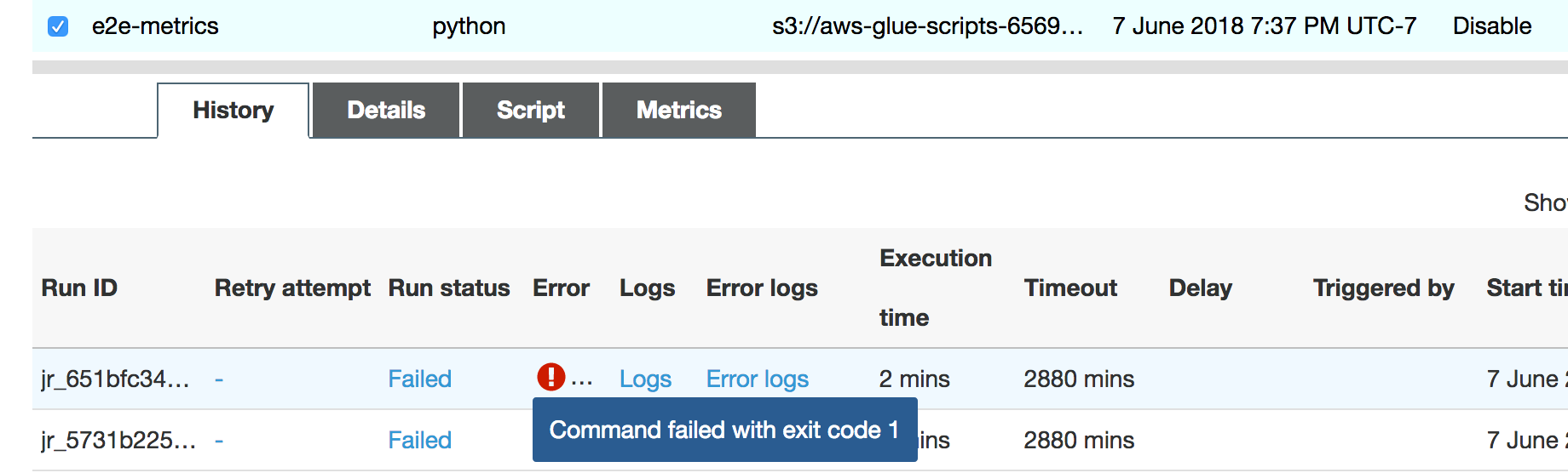 Debugging OOM Exceptions and Job Abnormalities - AWS Glue