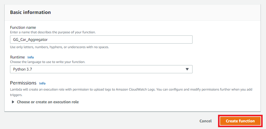 Create and Configure the Lambda Function - AWS IoT Greengrass