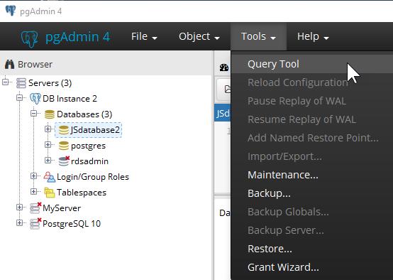 PostgreSQL データベースエンジンを実行する DB インスタンスへ