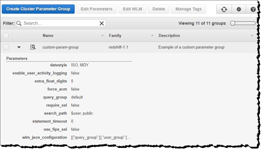 コンソールを使用したパラメータグループの管理 amazon redshift