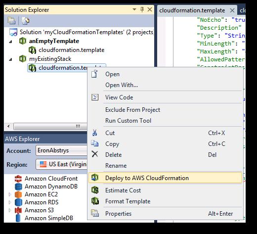 visual studio での aws cloudformation テンプレートのデプロイ aws