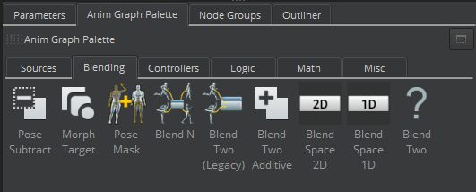 New blend nodes in the Anim Graph Palette in the Lumberyard Animation Editor.