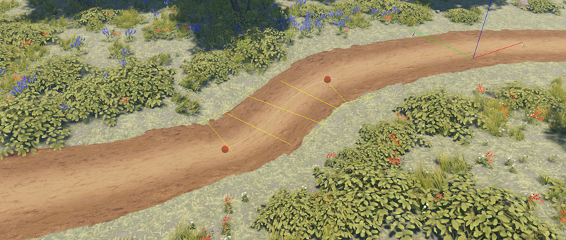 Example image of a path created by the Road component in Lumberyard Editor.