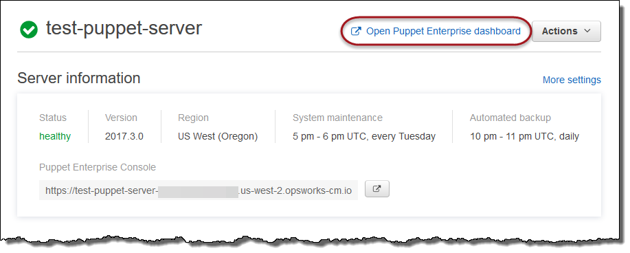 Sign in to the Puppet Enterprise Console - AWS OpsWorks