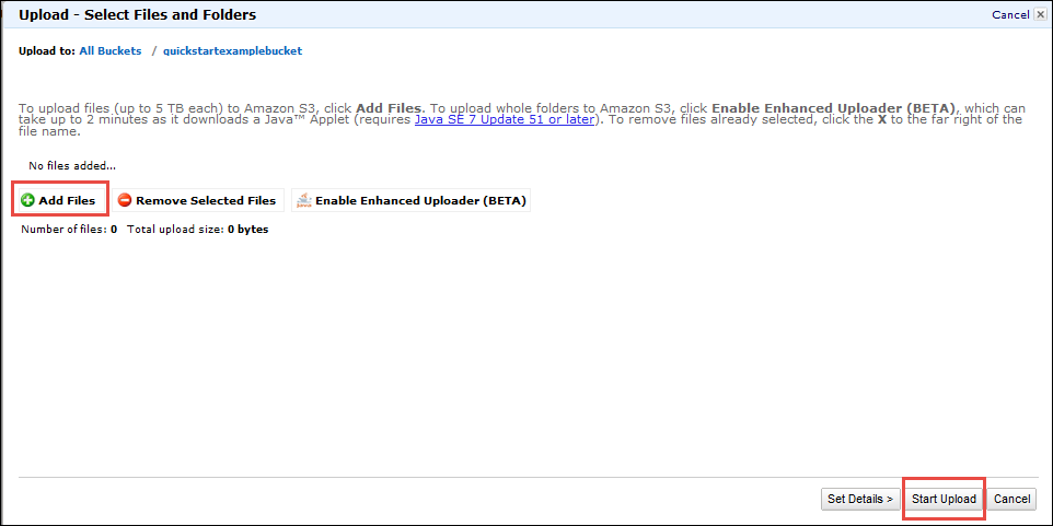 Step 2: Upload a File to Your Amazon S3 Bucket - AWS Quick Start