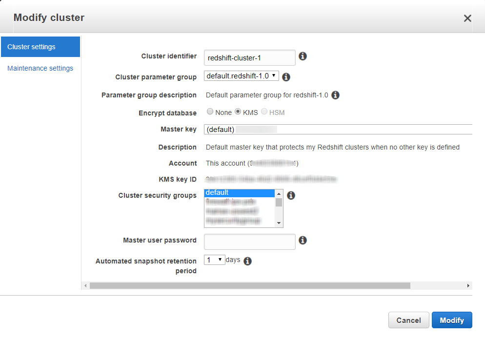 Changing Cluster Encryption - Amazon Redshift