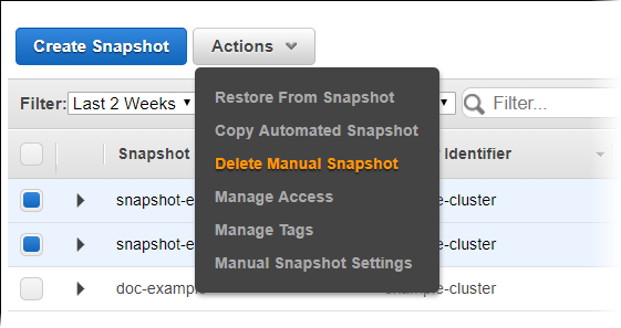 Managing Snapshots Using the Console - Amazon Redshift