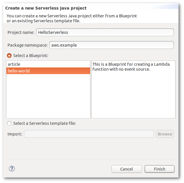 Serverless Projects - AWS Toolkit for Eclipse