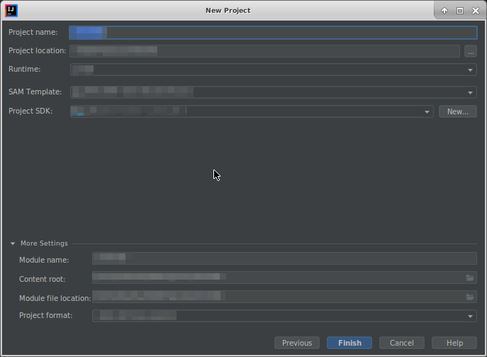 New Project Dialog Box - AWS Toolkit for JetBrains