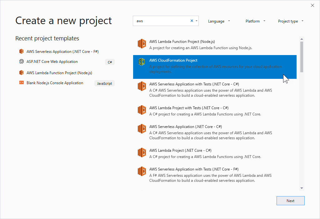 Creating an AWS CloudFormation Template Project in Visual