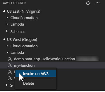 Interacting with Remote Lambda Functions - AWS Toolkit for