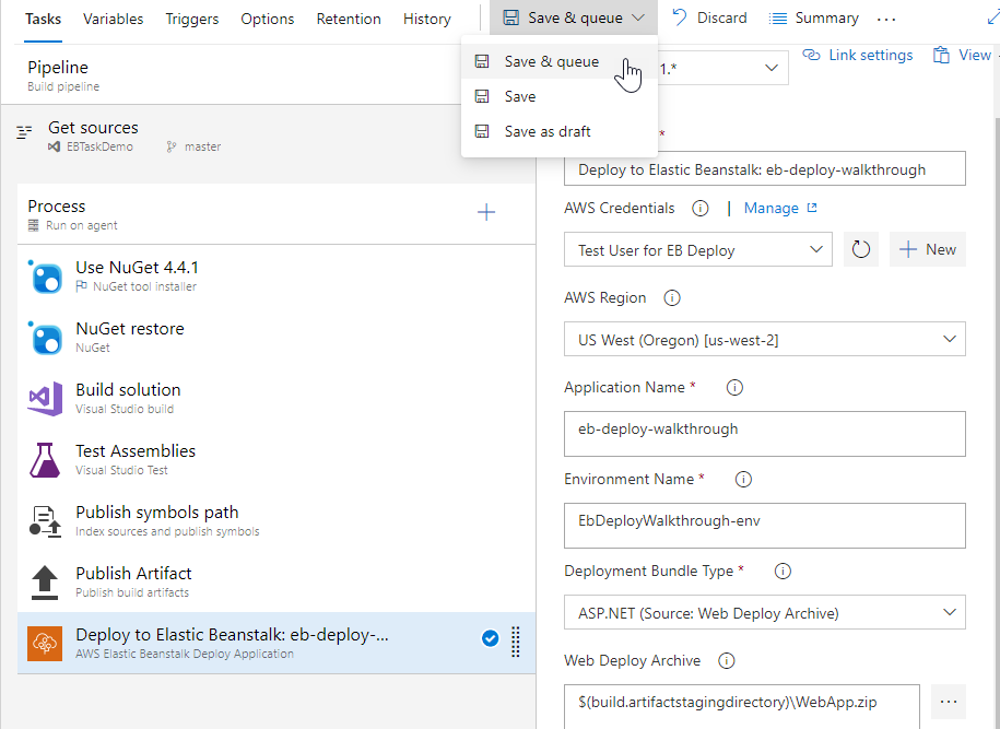 Deploying an ASP NET Web App to AWS - AWS Tools for