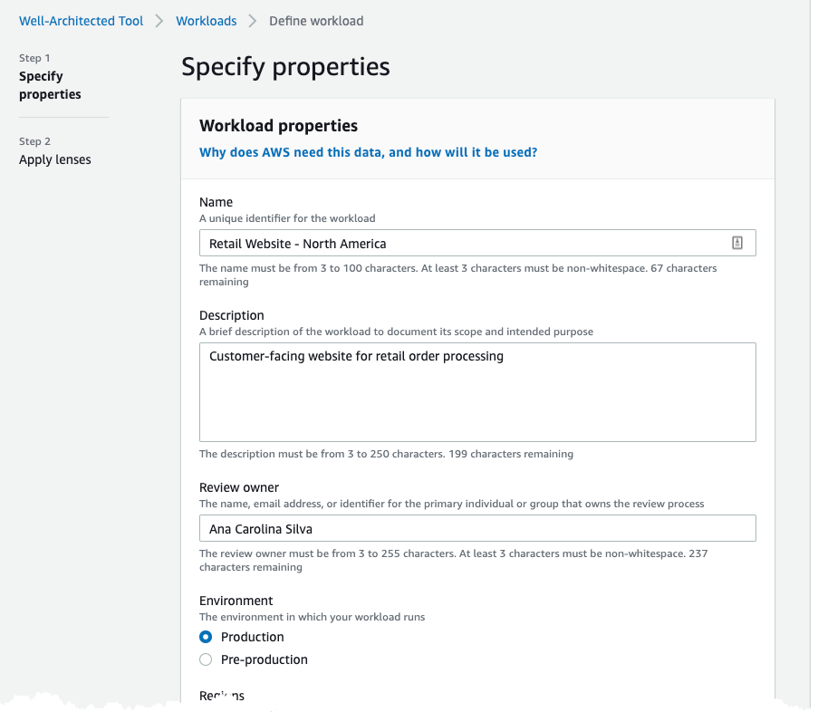 Step 1 Define A Workload Aws Well Architected Tool