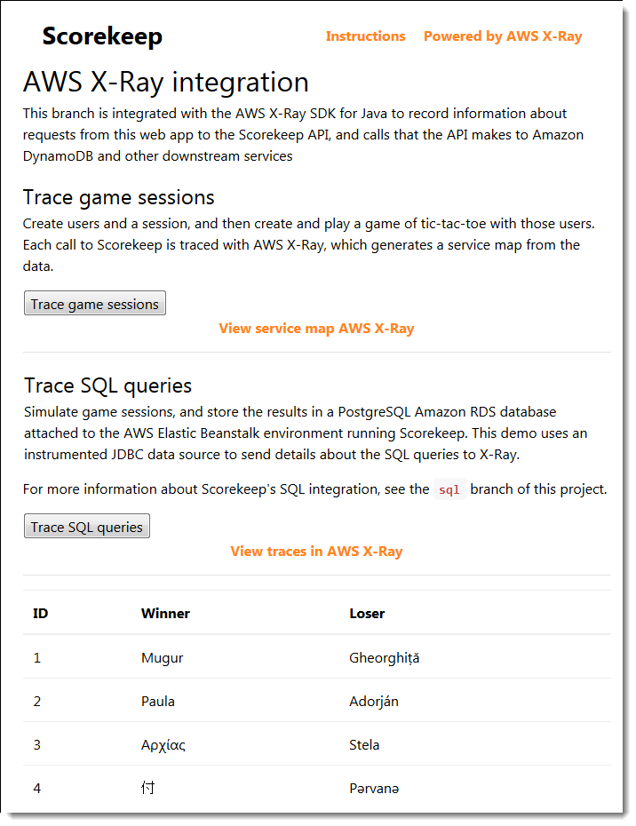 Choose Trace SQL queries to simulate game sessions and store the